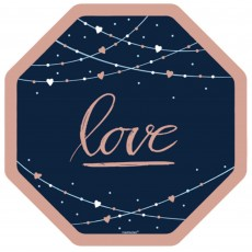 Octagonal Bridal Shower Navy Bride Metallic Love Banquet Plates 25cm Pack of 8