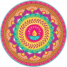 Round Diwali Paper Banquet Plates 26cm Pack of 8
