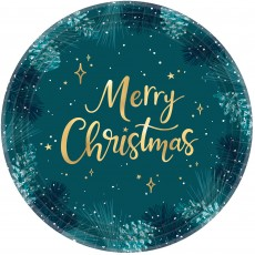Christmas Very Merry Teal Banquet Plates