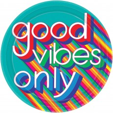 Round Disco & 70's Good Vibes good vibes only Banquet Plates 26cm Pack of 8