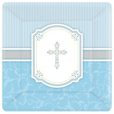First Communion Blue Blessings Banquet Plates