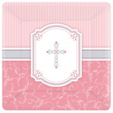 First Communion Pink Blessings Banquet Plates