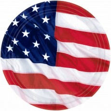 Round USA Flying Colours Paper Dinner Plates 26.6cm Pack of 8