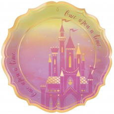 Disney Princess Once Upon A Time Metallic Shaped Banquet Plates 26cm Pack of 8