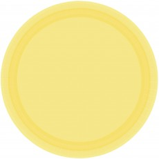 Round Sunshine Yellow Paper Lunch Plates 17cm Pack of 20