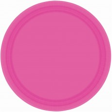 Pink Bright Paper Lunch Plates