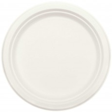 Round White Eco Party Sugar Cane Dinner Plates 22cm Pack of 50