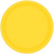 Round Sunshine Yellow Paper Dinner Plates 23cm Pack of 20