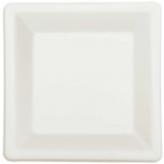 Square White Eco Party Sugar Cane Lunch Plates 16.5cm Pack of 22