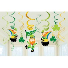 St Patrick's day Swirl Hanging Decorations Pack of 12