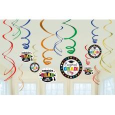 Graduation Swirl Congrats Grad! Hanging Decorations Pack of 12