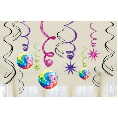 Disco & 70's Disco Fever Swirl Hanging Decorations Pack of 12