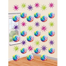 Disco & 70's Disco Fever String Hanging Decorations 2.1m Pack of 6