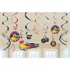 Rock n Roll Classic 50's Swirl Hanging Decorations