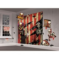 Halloween Assorted Colours Creepy Carnival Scene Setter Wall Decorating Kits