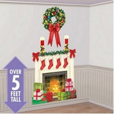 Christmas Holiday Hearth Fireplace Add On Wall Scene Setter