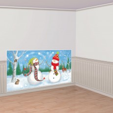 Christmas Party Decorations - Scene Setter Whimsical Snowmen