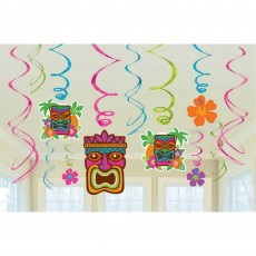 Hawaiian Luau Tiki Foil Swirls Hanging Decorations