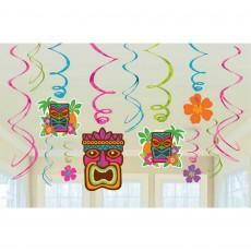Hawaiian Party Decorations Tiki Foil Swirls Hanging Decorations