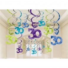 30th Birthday Swirls Hanging Decorations