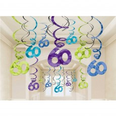 60th Birthday Party Continues Swirl Hanging Decorations