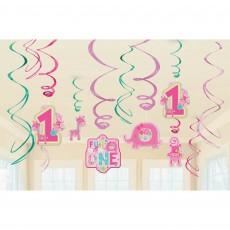 Girl One Wild Swirls Hanging Decorations Pack of 12