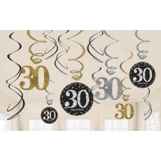 30th Birthday Sparkling Black  Hanging Decorations