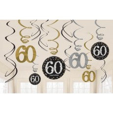 60th Birthday Sparkling Black  Hanging Decorations