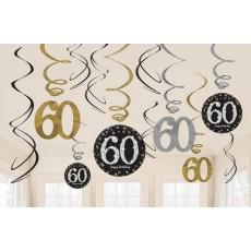 60th Birthday Sparkling Celebration Swirl Hanging Decorations Pack of 12