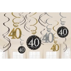 Black, Gold & Silver 40th Birthday Sparkling Celebration Swirl Hanging Decorations Pack of 12