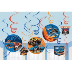 Hot Wheels Wild Racer Swirls Hanging Decorations Pack of 12