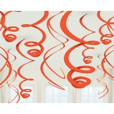 Orange Peel Swirl Hanging Decorations 56cm Pack of 12