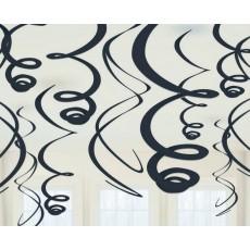 Black Jet Plastic Swirls Hanging Decorations