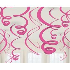 Bright Pink Plastic Swirls Hanging Decorations 56cm Pack of 12