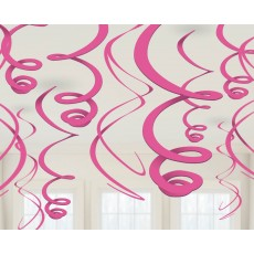 Pink Bright Plastic Swirls Hanging Decorations