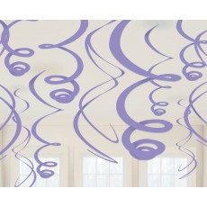 New Purple Plastic Swirl Hanging Decorations 56cm Pack of 12