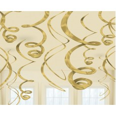 Gold Hanging Decorations 56cm Pack of 12