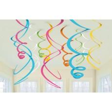 Multi Colour ed Swirl Hanging Decorations
