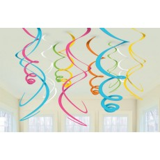 Multi Coloured Swirl Hanging Decorations 56cm Pack of 12