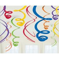 Rainbow Plastic Swirl Hanging Decorations 55.8cm Pack of 12