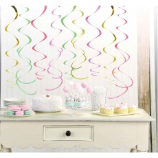 Pastel Multi Coloured & Gold Foil Swirl Hanging Decorations 55.8cm Pack of 12
