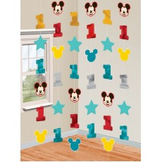 Mickey Mouse 1st Birthday Fun To Be One String Hanging Decorations 2.1m Pack of 6
