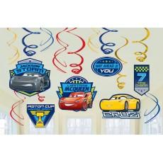 Disney Cars 3 Swirls Hanging Decorations Pack of 12