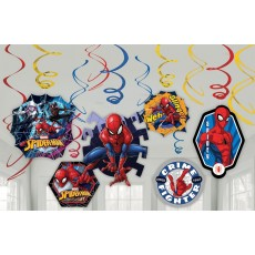 Spider-Man Webbed Wonder Swirls Hanging Decorations Pack of 12