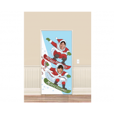 Christmas Santa Snowboarding Banner Photo Prop