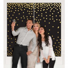 Black & Gold Confetti Dots Photo Booth Scene Setters 165cm x 165cm Pack of 2