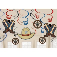 Cowboy & Western Swirl Hanging Decorations Pack of 12