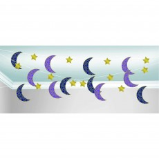 Moon & Stars String Hanging Decorations 2.1m Pack of 6