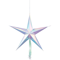 Iridescent Shimmering Party 3D Star Hanging Decorations Pack of 3