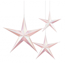 Iridescent White & Pink 3D Star Hanging Decorations